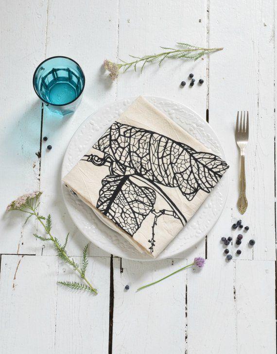 Tea Towel - Organic Cotton - Leaf Print - Kitchen Towels