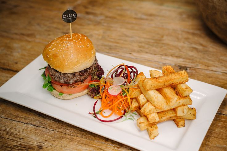 #HoutBayManorMenu Beef #Burger ~ 180g Homemade beef burger served with a choice of Cajun potato pomme neuf   or sweet potato fries and red onion marmalade.
