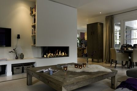 Two sided gas fire