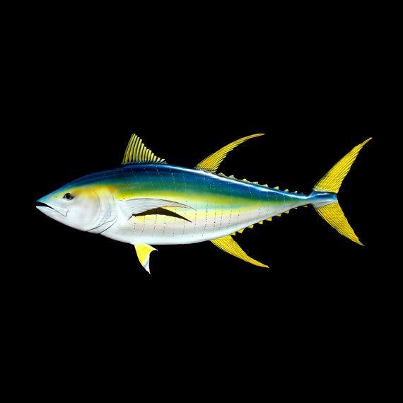 ATÚN aleta amarilla pescado tallado en madera, 46