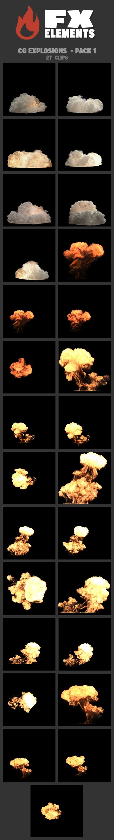 CG Explosions - Pack 1 includes 7 CG Dynamite clips: a variety of explosions with pyro flash and white smoke. It also includes 20 CG Gas Bomb clips: 5 gasoline explosions with black smoke shown from 4 different angles each: close-up, wide shot, high 45 ° angle and aerial view. • All clips include an Alpha channel • All clips include a Depth matte • 22 clips horizontal 2K resolution (2048 × 1556) • 5 clips vertical 2K resolution (1556 x 2048) • ProRes 4444 Quicktime files