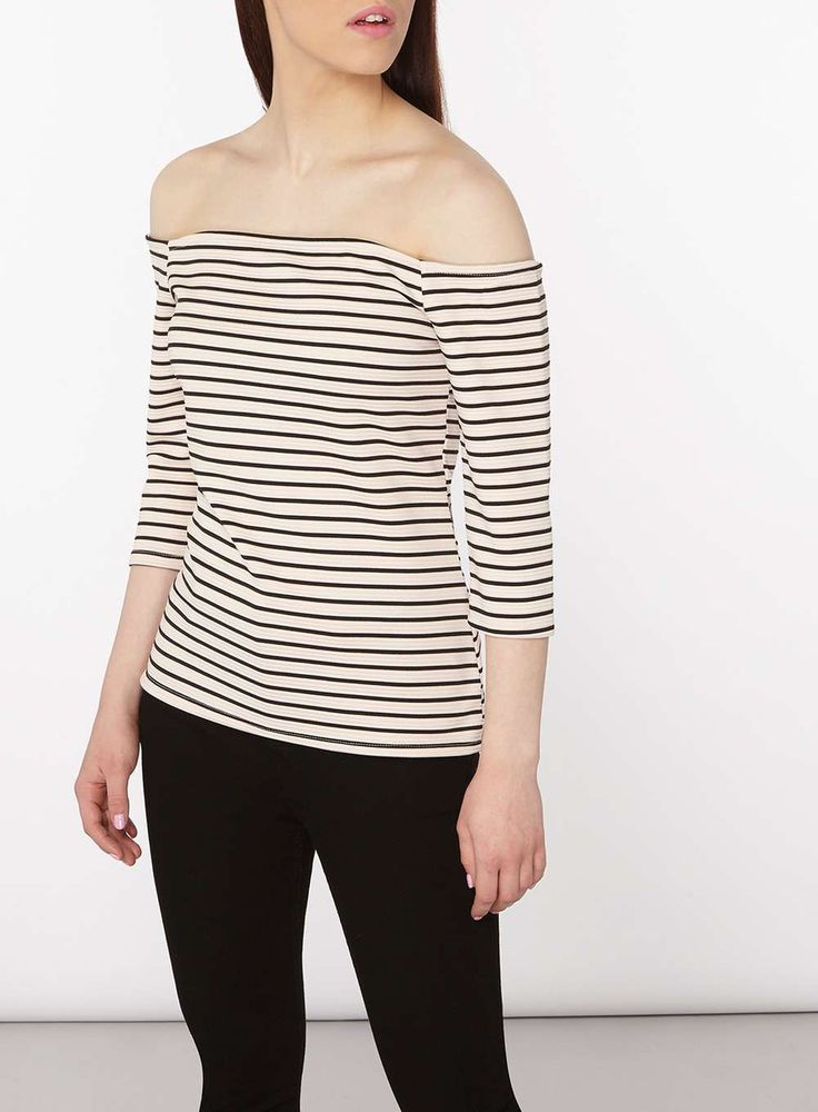 Womens Petite Blush And Black Striped Bardot Top- Pink