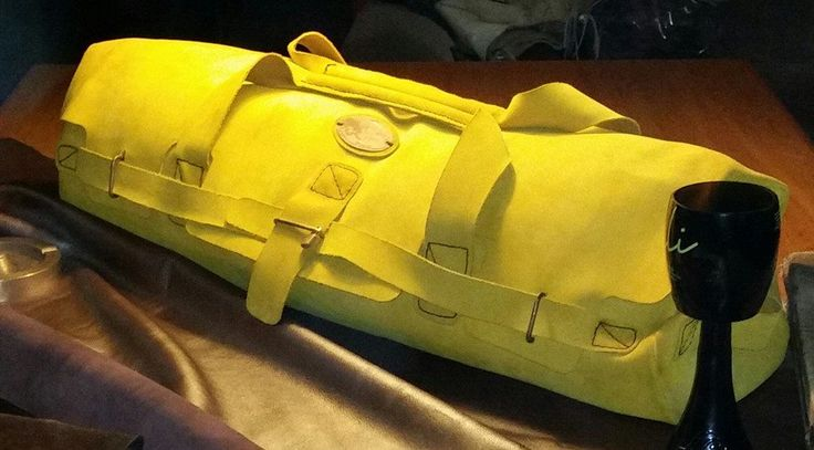 Hand stitched leather duffel bag