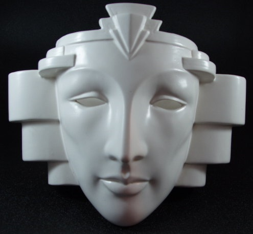 Details About Art Deco Anthropomorphic Face Mask Wall Sconce Lamp Light Ceramic Pelzman Vandor