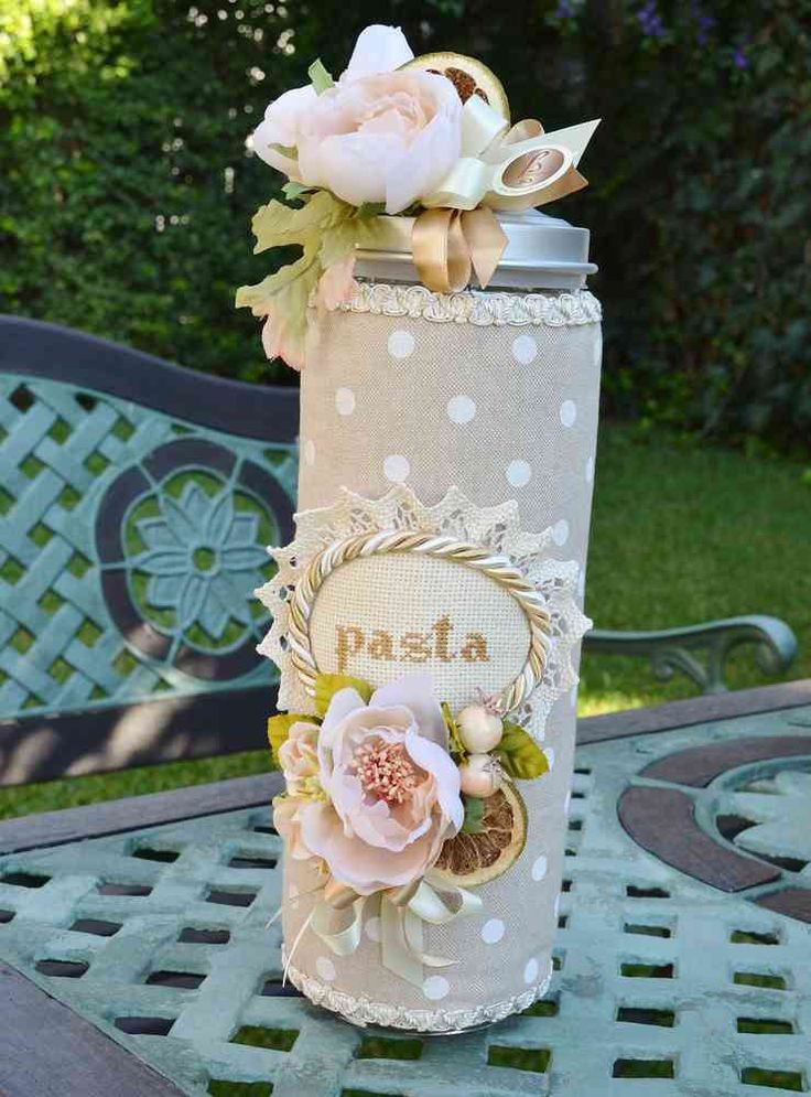 STORAGE CONTAINER FOR PASTA WHITE POIS Collection - PatriziaB.com Glass jar for pasta decorated with a rich composition of flowers and ribbons and fully lined with padded fabric polka dot edged trimmings