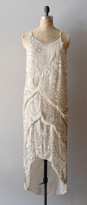 Vintage 1920s Diaphanous Star beaded dress: