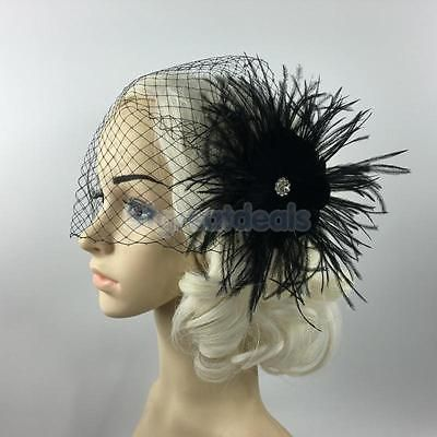 Elegant Black Birdcage Veil with Feather Fascinator Wedding/Funeral/Church