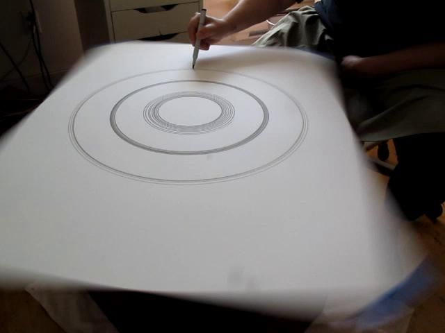 Making a Drawing on the Machine by Sarah Gee. This is a video of how I make my ink drawings using a machine I made myself with rewired parts of several revolving household appliances. filmed by Jessica Bell.