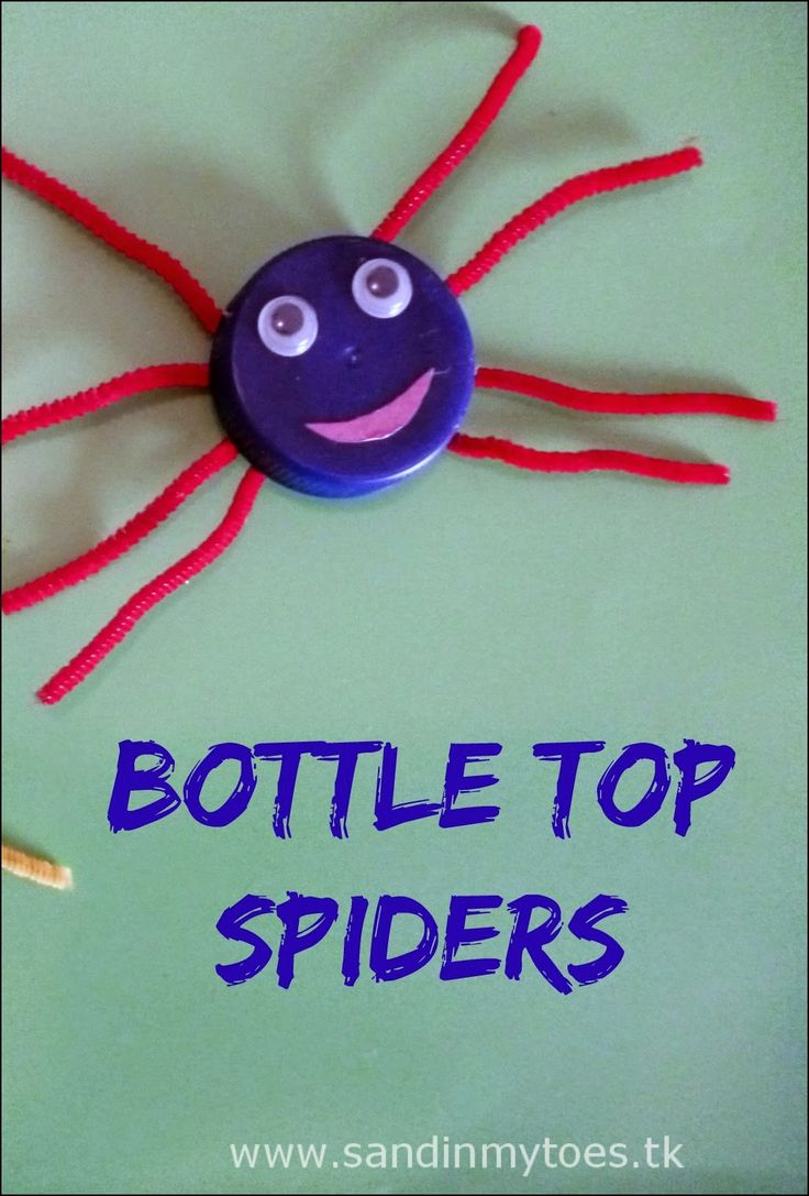 These bottle top spiders are easy to make, and not scary at all! #recycledcrafts #toddlercrafts