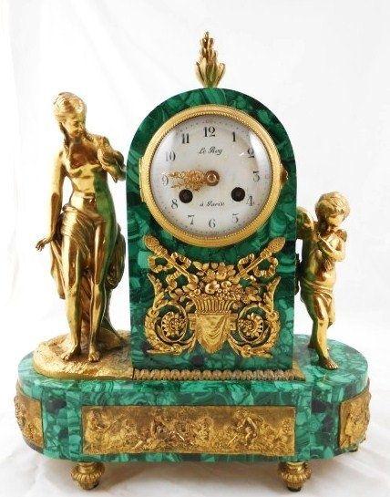 Fine French Gilt-Bronze & Malachite Mantel Clock
