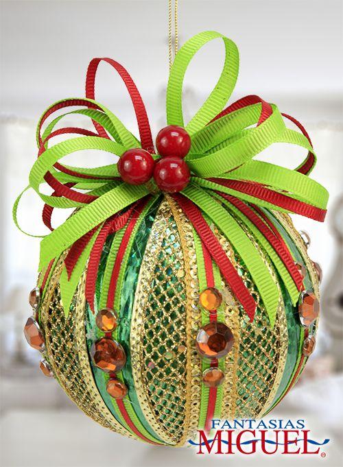 Esfera verde con rojo list n navidad 2014 adorno for Navidad adornos manualidades navidenas