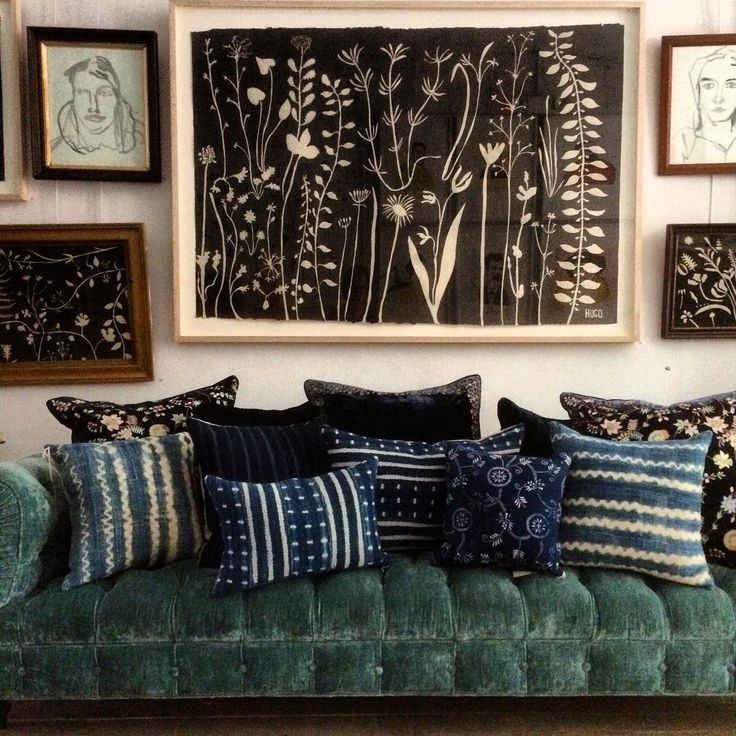 Hugo Guinness art works, our  Brook #sofa from @myciscohome  collection in aqua linen velvet,  #AnkeDrechsel silk velvet pillows and our custom vintage west African textile indigo pillows.