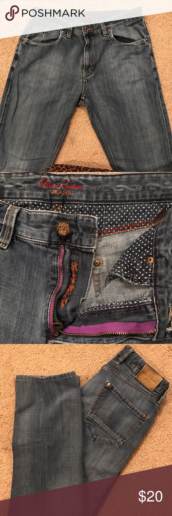 Robert Graham men's jeans Robert Graham classicYates indigo denim jeans. These will become your favorite denim jeans. The inseam is 30' Robert Graham Jeans Relaxed