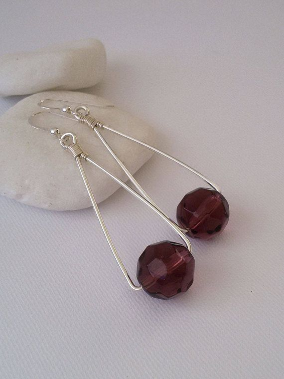 Purple Glass Bead Earrings Silver Plated Dangle Earrings with