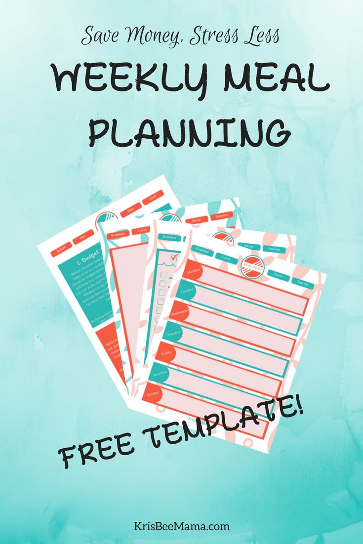 Save Time And Money By Meal Planning Weekly | Free downloadable meal plan template! Meal planning not only reduces stress but can also save you money and time! Plus, planning your food weekly helps you stay within your grocery budget. #mealplan #mealplanning #budget #budgeting #freebie #template