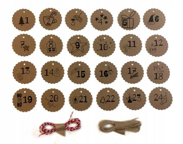 Kalendarz Adwentowy Etykietki Z Numerkami Kraft 10 Things Xmas Diy