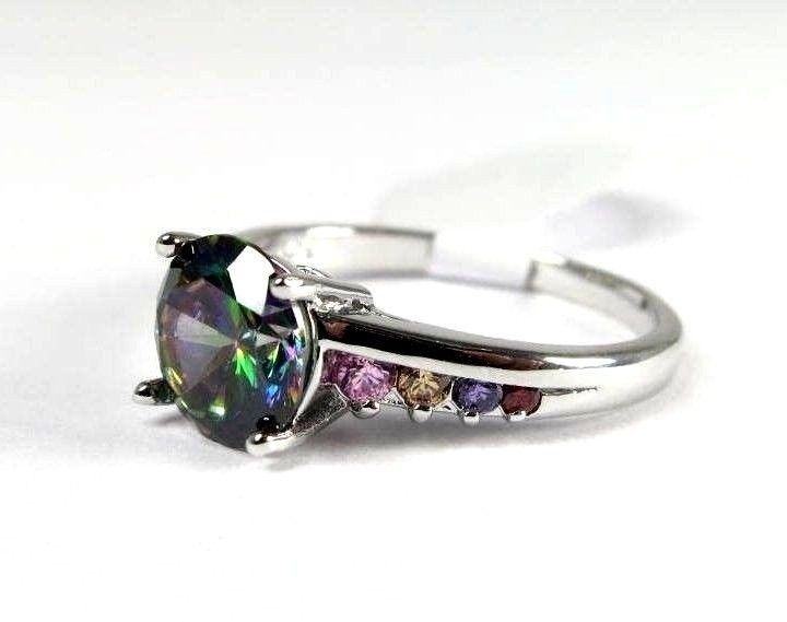 Mystic Fire Topaz Simulated Gemstones Ladies Silver Ring Size 7.25 R#6891