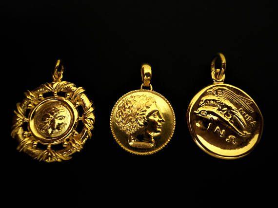 Ancient Greek Coin Pendants. Copy of Authentic. 18K Gold