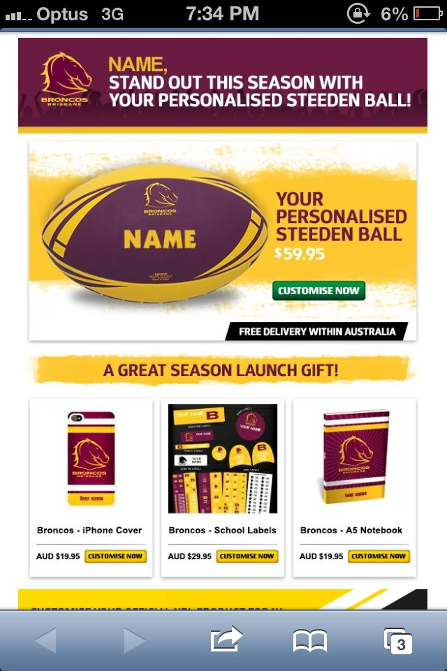 Great personalised merch ideas for new members from the Brisbane Broncos.