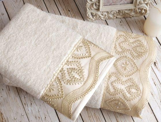 Luksusowy ręcznik Gemma Krem 90x150 cm
