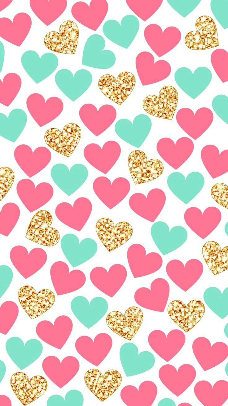 Pink and turquoise heart graphic pattern