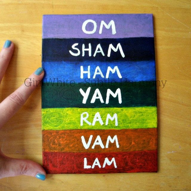 Chakra Painting Acrylic on 5x7 Canvas Panel Board, Seed Sounds Mantras for Each Chakra / Chakras Colors / Reiki Energy / Free Shipping by SubtleHarmony on Etsy