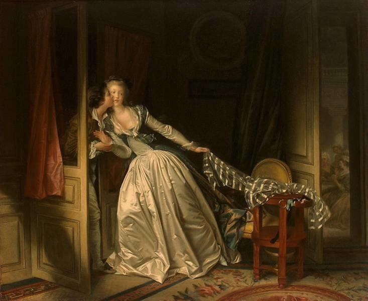 """""""Поцелуй украдкой"""" великого французского художника эпохи рококо Жана-Оноре Фрагонара."""