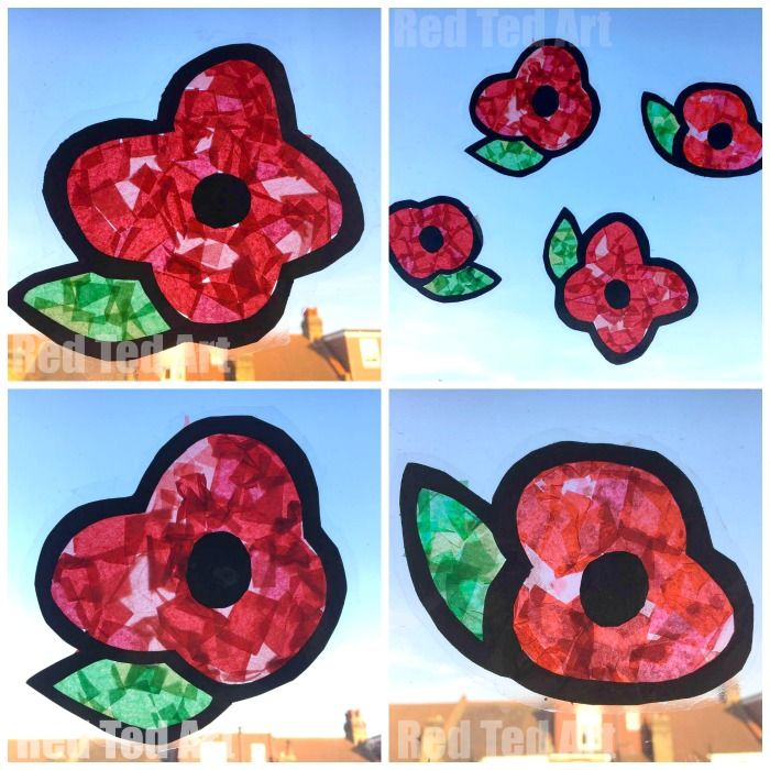 Easy DIY Poppy Suncatchers - this is a great Remembrance Day Activity for Preschoolers. It looks really effective and is a great way to start a conversation about Remembrance Day and why we observe it! Love this easy Poppy Craft for Kids.