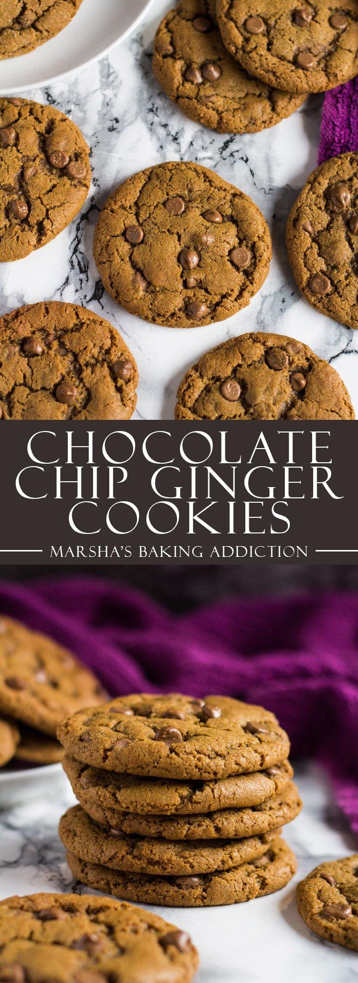 Chocolate Chip Ginger Cookies | marshasbakingaddiction.com @marshasbakeblog
