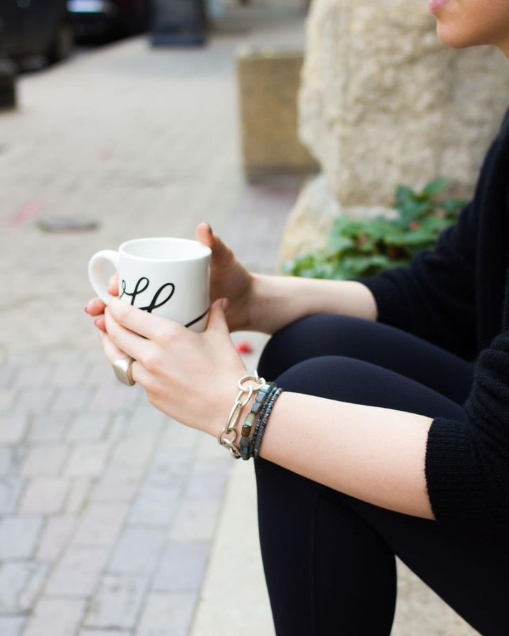 Early morning essentials: Lots of coffee and layered bracelets