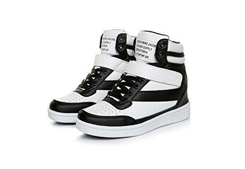 Oferta: 30.99€. Comprar Ofertas de Zapatillas de Cuña Mujer Clásico Zapatos Deportivos Alta Interior Talón Plataforma 7 CM Negro&Blanco 37 barato. ¡Mira las ofertas!