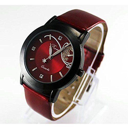 Hemlock Pretty Round Women's Crystal Diamond Watches PU Leather Band Quartz Wrist Watch Red