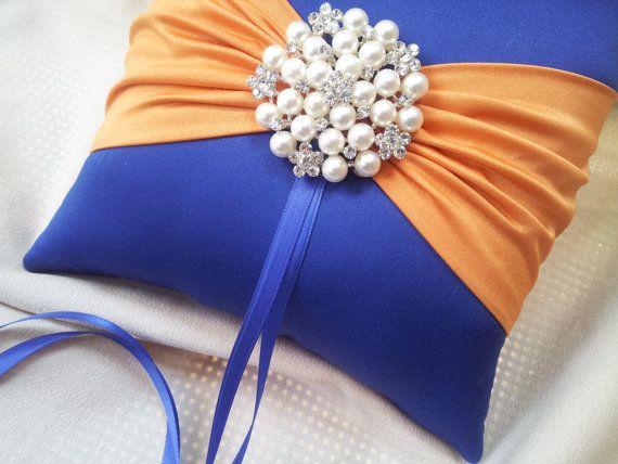 Royal Cobalt Blue and Orange Wedding Ring Bearer Pillow  www.allofyou.etsy.com