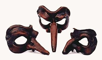 Zanni masks. Notice the incredibly long nose - Zanni was more a kind of mask than character
