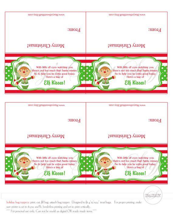 Elf Kisses Christmas Bag Topper Christmas Bag Topper Etsy Christmas Bags Bag Topper Christmas Treat Bags