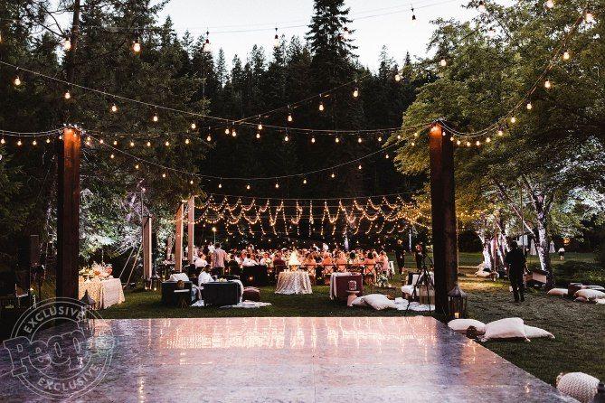 Beautiful rustig and glamorous outdoor wedding reception Julianne Hough wedding with dance floor