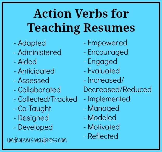"""Action Verbs for Teaching Resumes - words to use other than """"taught"""""""