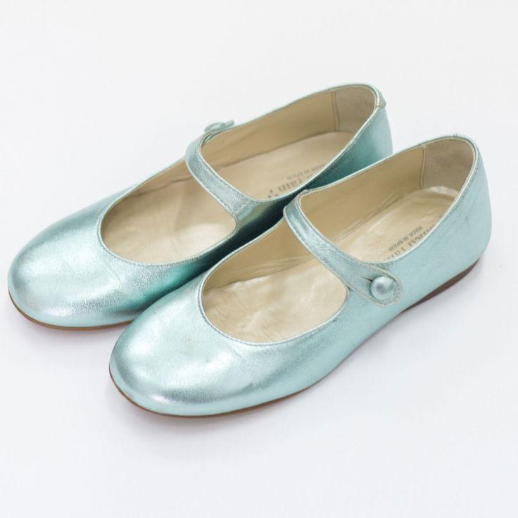 Metallic aqua kleurige schoentjes van het Spaanse merk Plumeti Rain