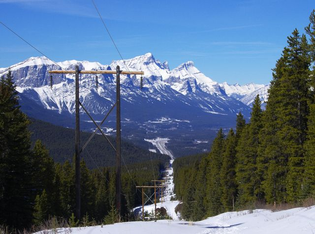 The not so pretty start to the trail to Skogan's Pass under the power line near Canmore