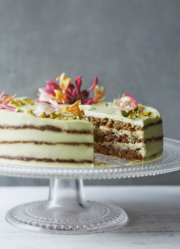 Courgette, basil, lime and pistachio cake with avocado lime cream and raspberry jam