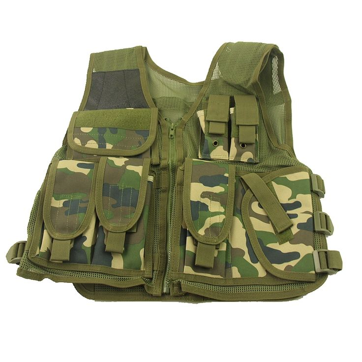 New Military Tactical Airsoft Vest Woodland Camo MOLLE Nylon Combat Hunting Outdoor Sports Vest