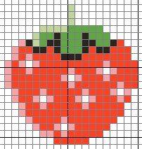 Free Strawberry Hama Beads Pattern or Cross Stitch Chart