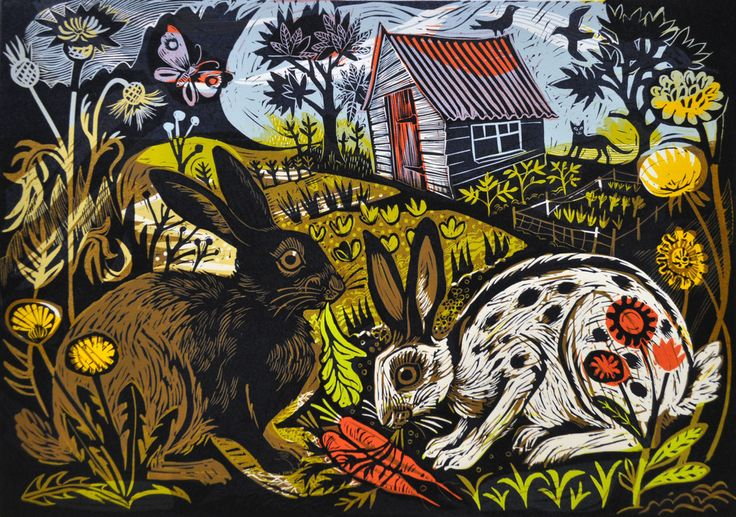 """""""Salad days"""" by Mark Hearld for the Penfold Press (linocut)"""