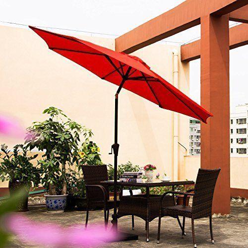 Patio Umbrella Tilt Aluminum 9FT Outdoor Market Umbrella With Crank 8 Steel Ribs #OutdoorPatioUmbrella