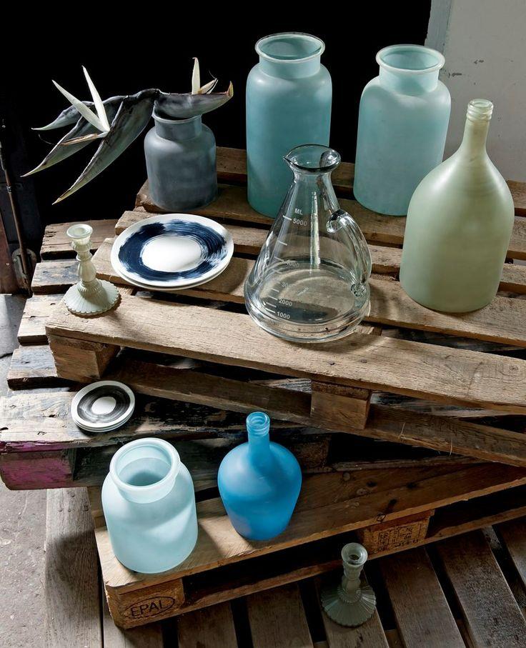 Styling: Judith Dekker | Photographer: James Stokes vtwonen december 2013 #vtwonen #magazine #interior #livingroom #blue #ground #glass #vases
