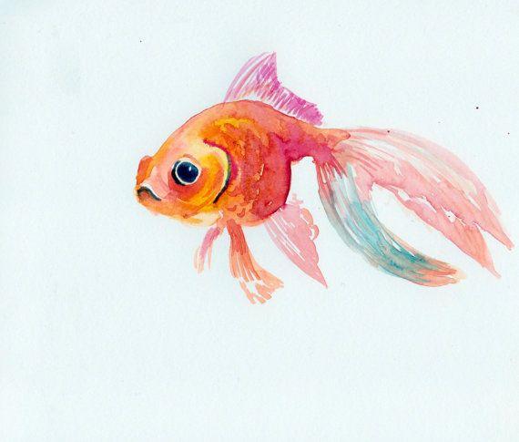 goldfish original watercolor painting 8 X 10 por ORIGINALONLY                                                                                                                                                                                 More