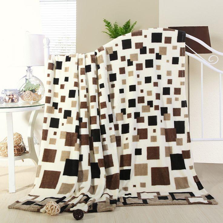 Plaza de la tela escocesa Del Estilo de Japón Impreso 200 cm X 230 cm Chocolate Geométrica Del Hospital para Lavarse las Manos una cálida manta de franela en la cama