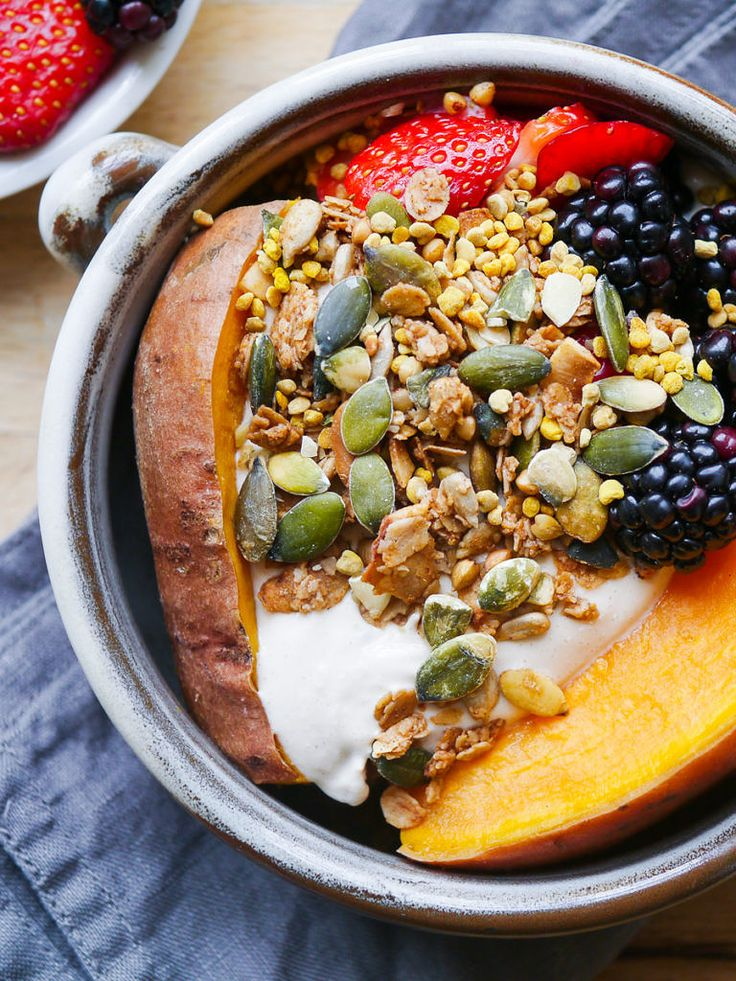 An easy, healthy, delicious breakfast you can make in advance. This sweet potato berries breakfast bowl is the best! Gluten free and sugar free. Via nourisheveryday.com