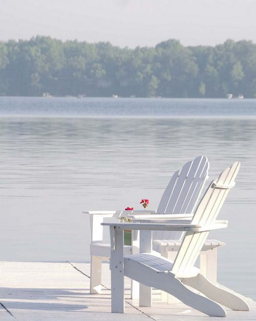 white adirondack chairs ... a summer's morning by the lake