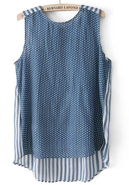 ++ Blue IPatchwork Round Neck Sleeveless Chiffon Vest